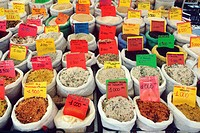 Italy, Venetia, Padova´s market, differents kinds of risotto