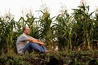 portrait of farmer sitting in corn field