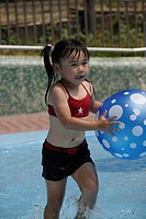 A girl in a pool with beach ball (thumbnail)