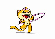 A cartoon cat using a hula hoop