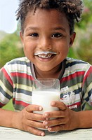 Young boy with milky smile, Cape Town, Western Cape Province, South Africa