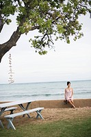 View of a woman sitting on wall by sea (thumbnail)