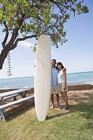 A couple with surfboard smiling (thumbnail)