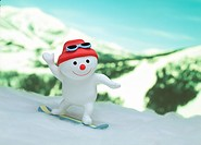 Snowman skiing in snow, close_up