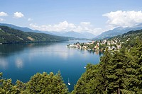 View over Millstatt and Millstaetter See deepest lake of Carinthia, Millstatt, Carinthia, Austria