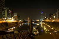 View of the Media Harbour at night with television tower in the background, Duesseldorf, state capital of NRW, North_Rhine_Westphalia, Germany