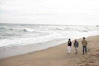 Father with son and grandson walking at beach, elevated view