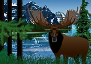 Bull elk standing by lake with mountains in background