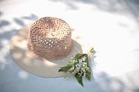 Japan, Kanagawa, Lily bell by hat