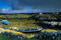 Coastal landscape with fishing boats, Lettermullan peninsula, Connemara, Co. Galway, Ireland, Europe