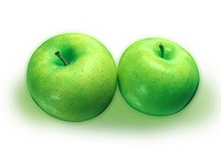 Green apples on white background, close_up