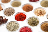 Variety of spices in bowls, focus on paprika powder, close_up