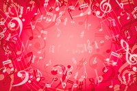 Musical Notes on red background, close_up