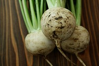 Turnip on table, close_up
