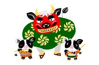 Japanese new year, year of the ox, illustration