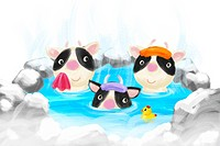Cow family soaking in hot springs, illustration