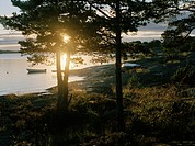 Sunset over an archipelago.