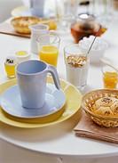Breakfast on a table.