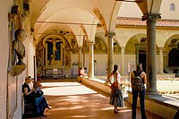 Museo di San Marco, tourits in the cloister, Florence, Tuscany, Italy, Europe