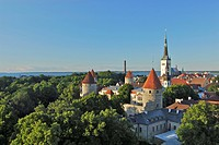 View from the cathedral hill, Toompea, towards the lower old town with city walls and St. Olafs church, Tallinn, Estonia