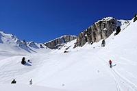 Backcountry skier, Valacia, Val di Fassa, Dolomites, Trentino_Alto Adige/Suedtirol, Italy