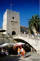 People at the city gate at the Old Town of Korcula, Korcula island, Croatian Adriatic Sea, Dalmatia, Croatia, Europe