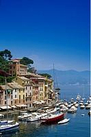 Marina under blue sky, Portofino, Liguria, Italian Riviera, Italy, Europe
