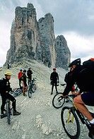 Mountain bike tour in the mountains, Three Peeks, Tre Cimi di Lavaredo, Sexten Dolomites, South Tyrol, Italy