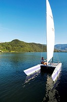 Catamaran on Lake Kaltern, Kaltern, Bolzano, South Tyrol, Italy