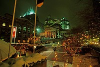 Robson Square, Art Gallery, and Hotel Vancouver at night in snow, Vancouver, British Columbia, Canada