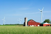 Farm and wind turbines, Shellburne, Ontario, Canada, wind energy, alternate energy