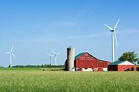 Farm and wind turbines, Shellburne, Ontario, Canada, wind energy, alternate energy