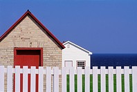 Buildings at lighthouse, Cap Des Rosiers, Gaspe Peninsula, Quebec, Canada