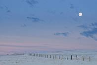 Moon and fence near Foremeost. Alberta, Canada
