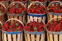 Strawberries for sale in French market.