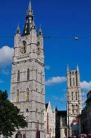 Belgium, Flanders, Ghent, Lakenhalle, Belfort Tower