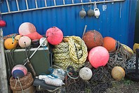 Commercial sea fishing, colourful fishing buoys and rope, Norfolk, England