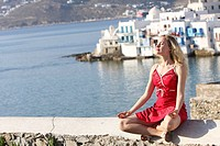 30 year old woman, Mykonos, Cyclades islands, Greece