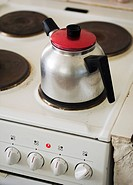 Boiling water on a stove.