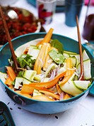 Salad with carrot onion and zucchini Stockholm Sweden.