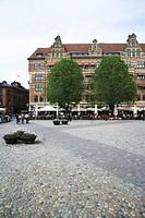 Lilla torg a square in the centre of Malmo Sweden.