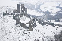 Corfe Castle and the Village of Corfe after a Snow Blizzard in March 2009 Dorset