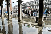 Rain and walkways for pedestrian  St Mark's Square  Venice, Italy, Europe, UNESCO World Heritage