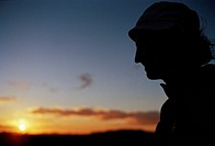 Silhouette of a man in the sunset Arizona USA.