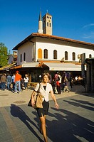 Woman walking in Bascarsija district of Sarajevo Bosnia Herzegovina Europe