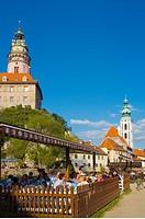 Al Fresco dining along River Vltava in Cesky Krumlov Czech Republic Europe