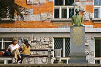 Couple in front of the National and University Library by Plecnik in Ljubljana Slovenia Europe