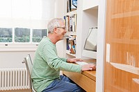 Mature man using computer
