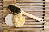 Back brush loofah mitt and sponge