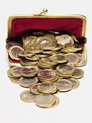 Euro coins in a purse